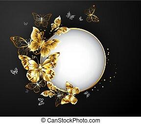 oro, mariposas, redondo, bandera