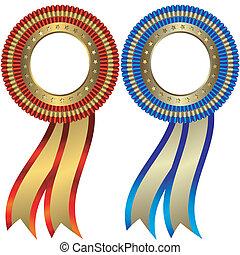 oro, medallas, plata, conjunto