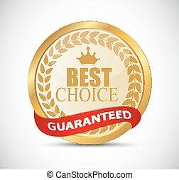 oro, mejor, opción, etiqueta, vector, ilustración