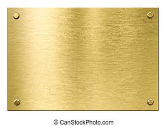 oro, metal, aislado, remaches, latón, o, placa