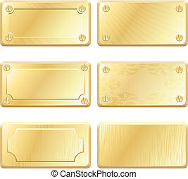oro, metal, etiquetas, -, vector, nameplates