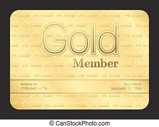 oro, miembro, club, tarjeta, con, pequeño, estrellas, patrón