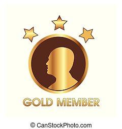 oro, miembro, con, humano, y, estrella, icono, tela, icono
