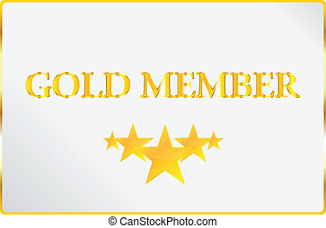 oro, miembro, tarjeta