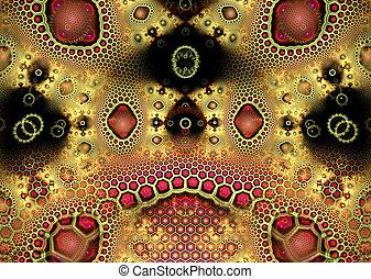 oro, modello, illustrazione, fondo, geometrico, fractal