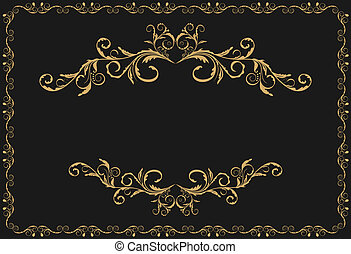 oro, modello, ornamento, illustrazione, lusso, profili di...
