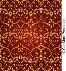 oro, &, modello, seamless, floreale, rosso