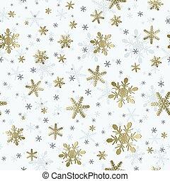 oro, modello, wrapping., effetto, placcato, seamless, fiocco di neve