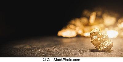 oro, montón, pepita, frente
