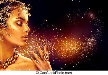 oro, mujer, skin., belleza, modelo, niña, con, dorado, maquillaje, pelo, y, joyería, en, fondo negro
