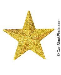 oro, navidad, estrella, blanco