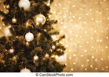 oro, navidad, plano de fondo, de, de-focused, luces, con, adornado, árbol, 2018