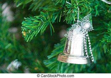 oro, navidad, plano de fondo, de, de-focused, luces, con, adornado, árbol