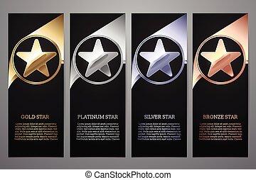 oro, negro, l, platino, conjunto, vector, plata, bronce, ...