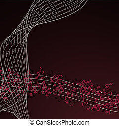 oro, note, musica, astratto, fondo