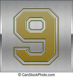 oro, numerare segno, posto, posizione, 9, argento