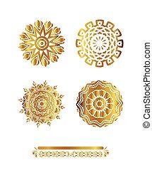 oro, ornamento, grande, set