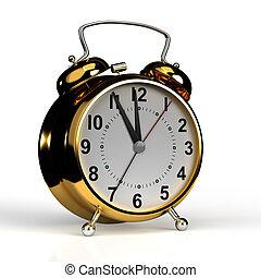 oro, orologio, fondo., allarme, interpretazione, 3d, bianco, isolato