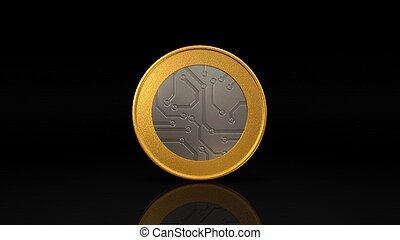 oro, oscuridad, moneda, digital, moneda, plata