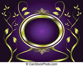 oro, púrpura, resumen, vector, diseño, floral