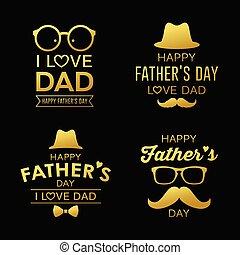 oro, padre, diseño, colecciones, día, feliz