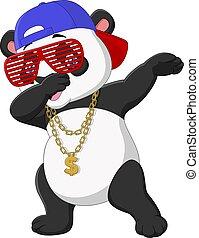 oro, panda, dabbing, collar, fresco, baile, sombrero, gafas ...