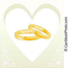 oro, pareja, anillos, vector, plano de fondo, boda, tarjeta