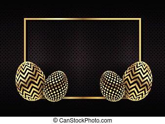 oro, pasqua, sfondo nero, 0304, uovo