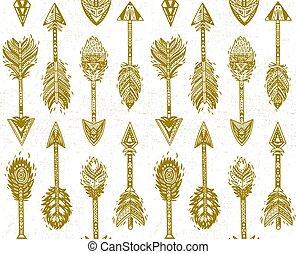 oro, patrón, flechas, seamless, indio americano, nativo