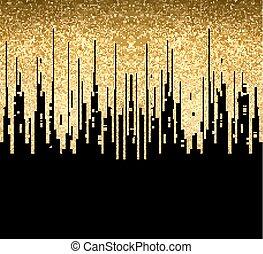 oro, pattern., linee, seamless, struttura, decorazione, fondo., nero, orizzontale