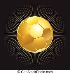 oro, pelota, en, fondo negro