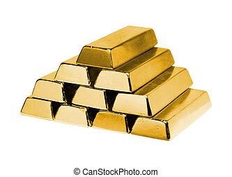 oro, pila, lingotes