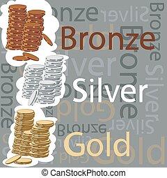 oro, plata, y, bronce, coins