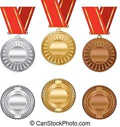 oro, plata, y, bronce, premio, medallas