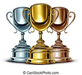 oro, plata, y, bronce