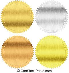 oro, plata, y, bronce, sellos, o, medallas, aislado, con,...