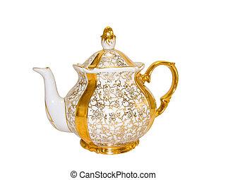 oro, porcellana, teiera