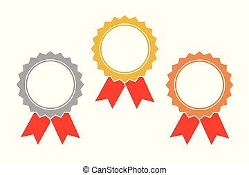 oro, premio, bronzo, medaglie, argento, nastro, rosso