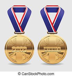 oro, premio, medaglie