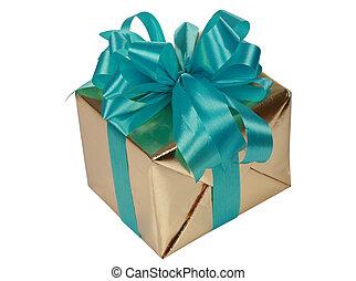 oro, presente, con, azul, cintas