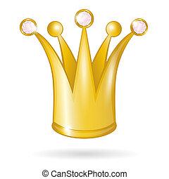 oro, principessa, isolato, corona