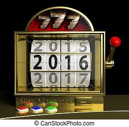 oro, ranura, máquina fruta, con, año nuevo, 2016, en la...