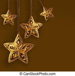 oro, ravvivato superfici, stelle, isolato, bianco
