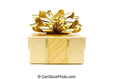 oro, regalo natale, scatola, isolato