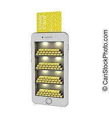 oro, render., illustrazione, fondo., canutiglia, bianco, e-banking., smartphone., 3d