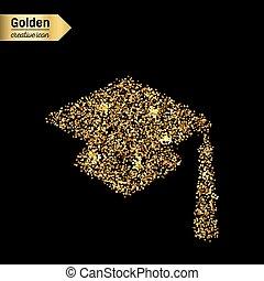 oro, resplandor, vector, icono, de, cuadrado, académico,...