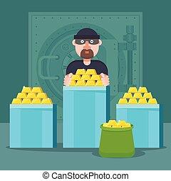 oro, robbed, bandido, gold., moneda, swindler, reservas, banco