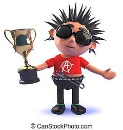 oro, roca del punk, taza, tenencia, premio, carácter, trofeo, caricatura, 3d