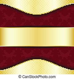 oro, rojo, plantilla