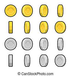oro, rotación, angles., coins, plata, diferente